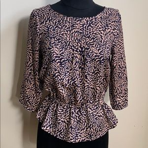 Tops - Pink navy peplum blouse